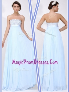 Lovely Strapless Beading Long Prom Dress in Light Blue