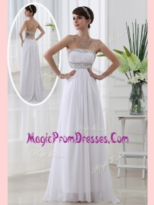 Lovely Strapless Brush Train Beading Prom Dress in White