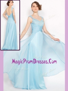 Lovely Style Empire Brush Train Light Blue Prom Dresses with Beading