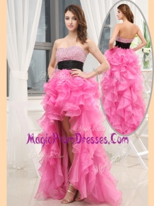 Lovely Sweetheart High-low Pink Prom Dresses with Beading and Belt