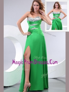 Lovely Sweetheart Paillette and High Slit Green Prom Dress
