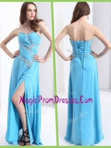 Lovely Sweetheart Prom Dresses with Beading and High Slit