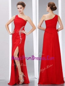 New Column One Shoulder Prom Dress with High Slit