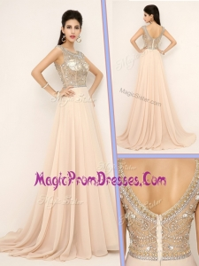 New Empire Bateau Brush Train Prom Dresses with Beading