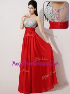 New Empire Scoop Side Zipper Prom Dresses in Red
