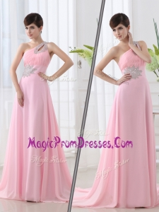 New Fashionable One Shoulder Brush Train Beading Baby Pink Prom Dress