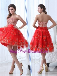 New Gorgeous Sweetheart Red Prom Dress with Beading and Appliques