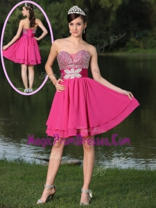 New Inexpensive Short Sweetheart Beading Prom Dresses in Hot Pink