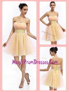 New Lovely Short Strapless Lace Up Prom Dresses with Beading and Ruching