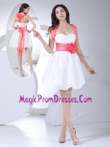 New Straps Hand Made Flowers Short Prom Dress in White