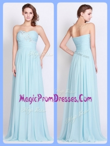 New Style Brush Train Light Blue Prom Dresses with Beading and Ruching