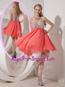 New Sweetheart Mini Length Beading Prom Dress for Homecoming