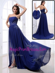 Classic Brush Train Strapless Beading Prom Dresses in Royal Blue