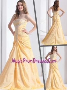Classic Brush Train Strapless Column Prom Dresses with Beading