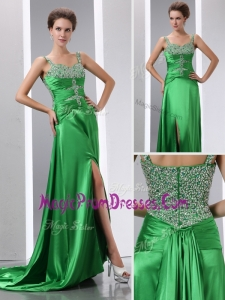 Classic Column Beading and High Slit Prom Dresses with Court Train