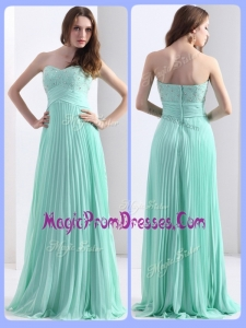 Classic Empire Beading and Sequins Apple Green Prom Dresses with Brush Train