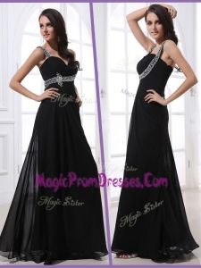 Classic Straps Empire Beading Prom Dresses in Black