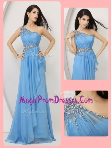 Cheap Classic Empire One Shoulder Prom Dresses with Beading and Ruching