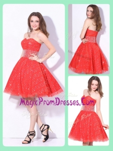 Classic Sweetheart Beading Prom Dress in Red for Fall