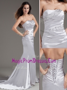 Exclusive Column Strapless Beading Brush Train Silver Prom Dress