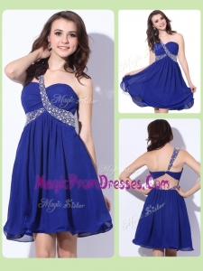 Exclusive One Shoulder Criss Cross Prom Dresses with Beading