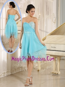 New Style Asymmetrical Sweetheart Beading Short Prom Dresses