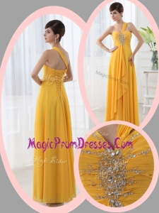 New Style Beautiful Empire One Shoulder Beading Orange Prom Dresses for Holiday