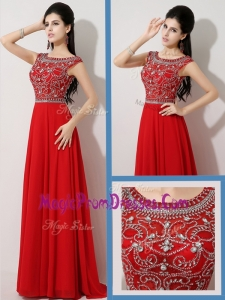 New Style Empire Bateau Brush Train Prom Dresses with Beading for Fall