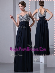 New Style Empire Straps Side Zipper Beading Prom Dresses in Black