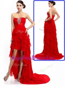 New Style High Low Ruffled Layers Prom Dresses with Beading