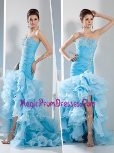 New Style Mermaid Sweetheart Ruffled Layers Prom Dress in Aqua Blue
