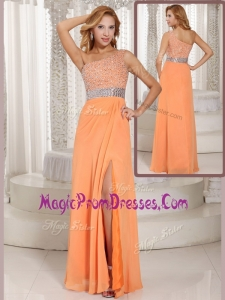 New Style One Shoulder Beading Prom Dress with Side Zipper