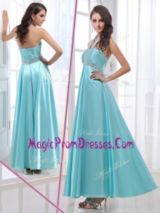 Hot Sale Empire Halter Top Ankle Length Beading Prom Dresses