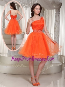 Hot Sale One Shoulder Beading Short Prom Dress for Party