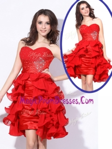 Hot Sale Sweetheart Red Short Prom Dresses with Beading and Ruffles