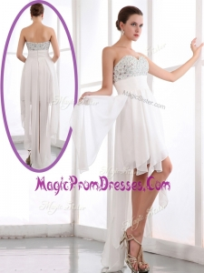 Most Popular Hot Sale Sweetheart High Low Beading Prom Dress in White