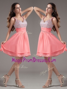 New Style Straps Beading Short Watermelon Prom Dresses