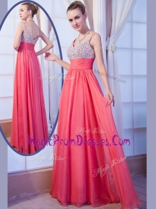 Perfect Empire Straps Side Zipper Beading Prom Dress for Evening