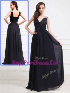 Perfect Empire V Neck Brush Train Beading Prom Dresses in Black