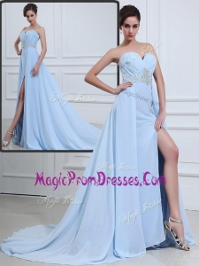 Perfect Hot Brush Train Sweetheart Beading Prom Dresses in Light Blue