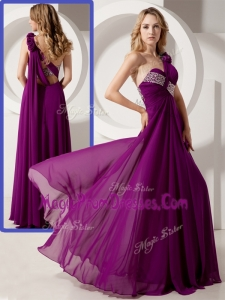 Perfect One Shoulder Hand Made Flowers Prom Dresses with Beading
