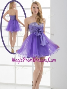 Perfect Sweetheart Eggplant Purple Short Prom Dresses with Beading