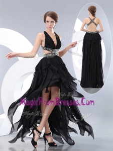 Perfect V Neck High Low Prom Dresses in Black
