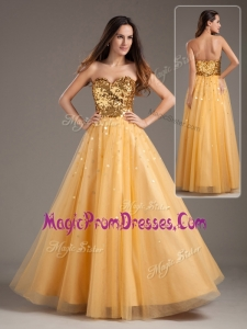 Hot Sale Princess Sweetheart Sequins Long Prom Dresses in Gold