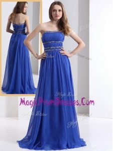 Hot Sale Strapless Empire Blue Prom Dresses with Ruching and Beading