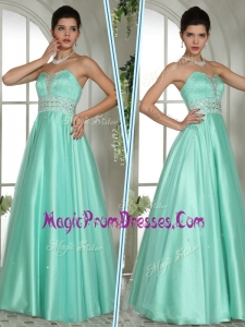 Wonderful A Line Sweetheart Beading Prom Dresses in Apple Green