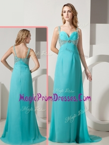 Wonderful Empire Straps Beading Turquoise Prom Dresses with Brush Train