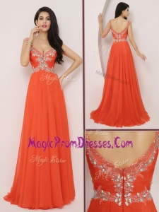 Wonderful New Style Brush Train Prom Dresses with High Slit and Beading