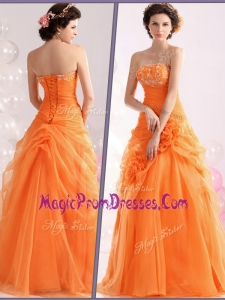 Wonderful Strapless Beading Prom Dresses with Hand Made Flowers