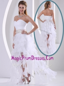 Wonderful Sweetheart Asymmetrical Beading Prom Dresses with Cocktail